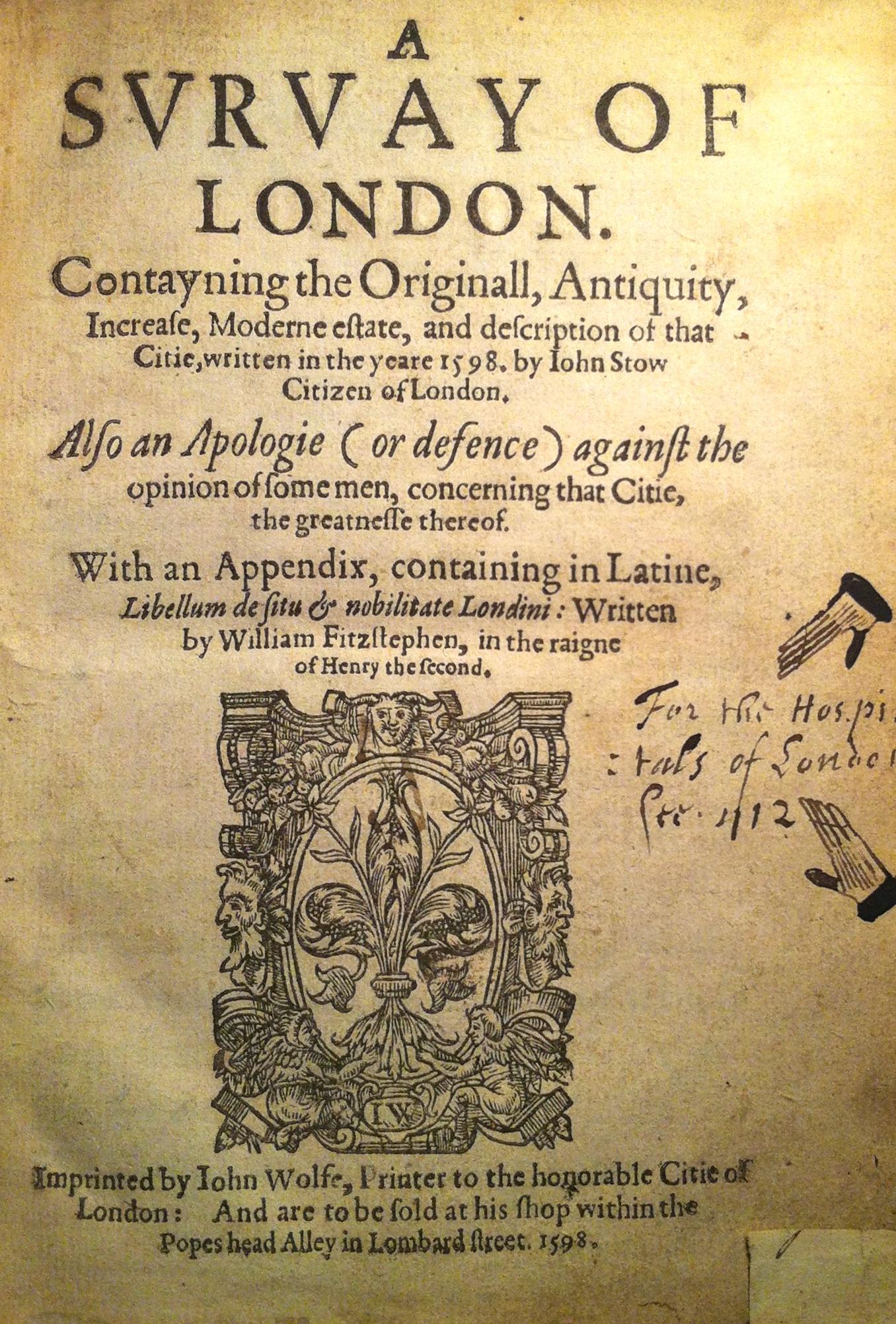 John Stow's 1598 Survey of London.